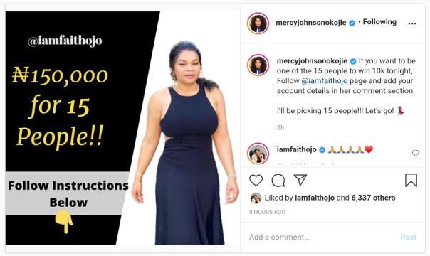 Mercy Johnson 150K Giveaway To Follow Faith Ojo - Amebo Book