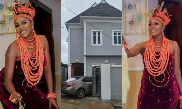 Double Celebration For Actress Olayinka Solomon As She Shows Off New House And Car