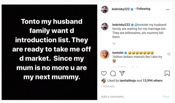 Tonto Dikeh Handing Over Marriage List To Bobrisky Family (2) Amebo Book