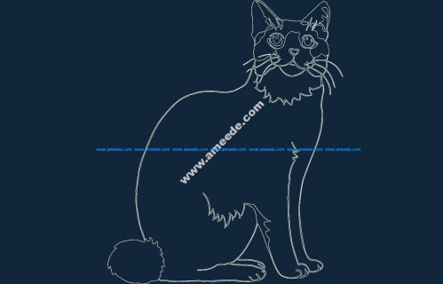 Sitting Cat DXF file