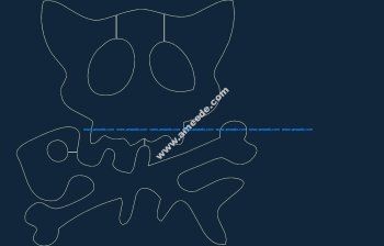 cat skull and crossbone dxf file