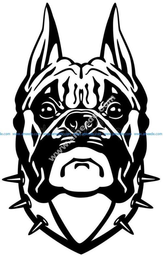 Boxer dog head black white
