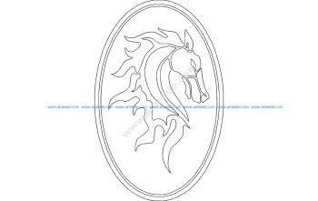 Horse Head in Oval Frame