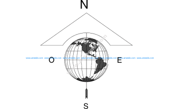 North Arrow Globe Map