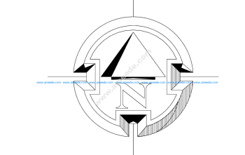 North Arrow Symbol Round