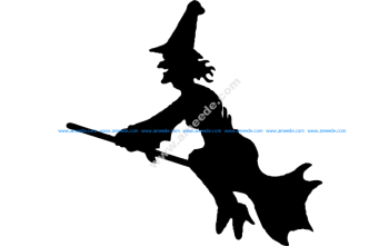 Flying Witch Silhouette