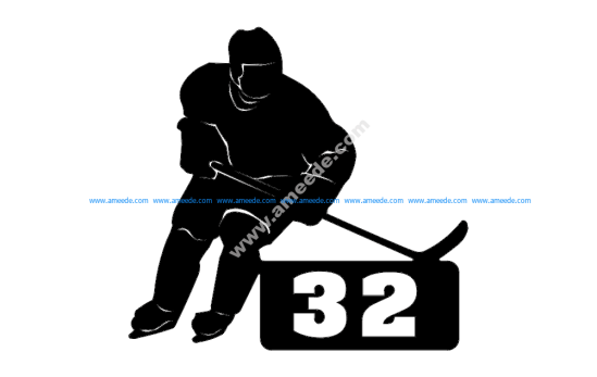 Hockey Player With Number