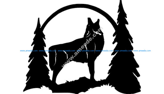 Howling wolf silhouette