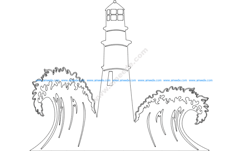 Lighthouse with Waves Scenery