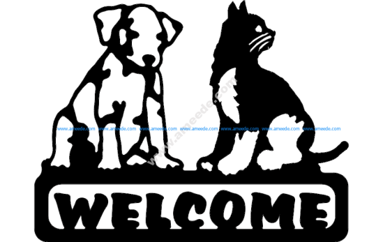 Welcome Sign Dog And Cat
