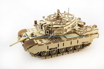 3D Wood Tank Puzzle Kit Engraved Laser Cut