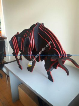 3d Wooden Bull Puzzle 6 mm