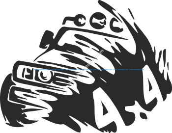 4×4 Truck Silhouette Sticker Vector
