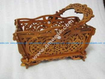 Basket with handle Pattern Vector for Laser Cutting