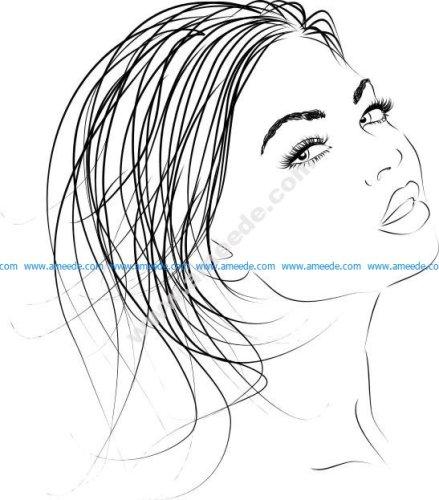 Beautiful woman outline Vector Clip Art