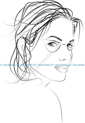 Beauty women face vector illustration