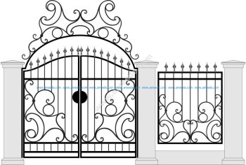 Black Forged Gate Wickets On White Vector