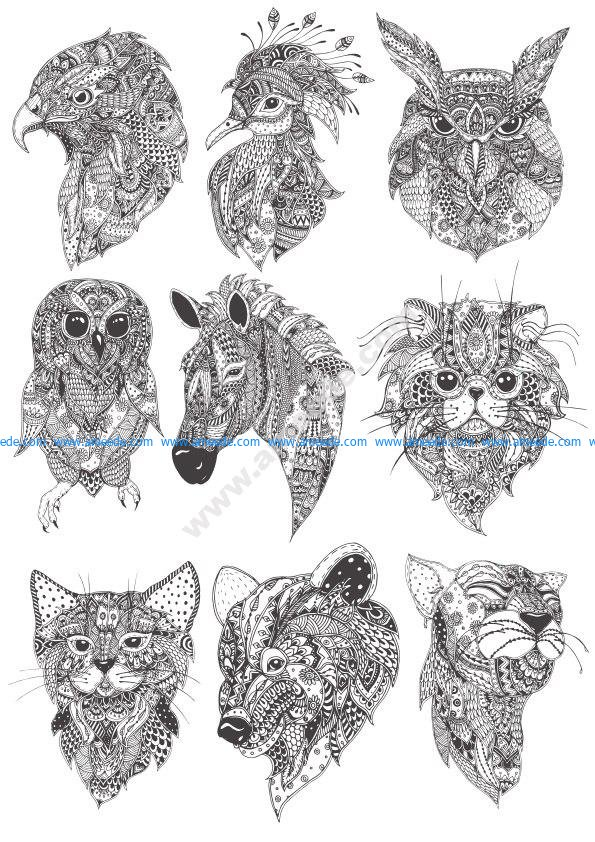 Boho amimals vector pack