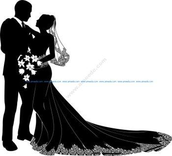 Bride And Groom Vector Art