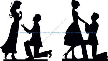 Bride & Groom Silhouette Vector