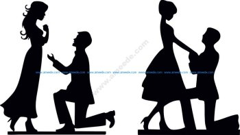 Bride & Groom Silhouette Vector