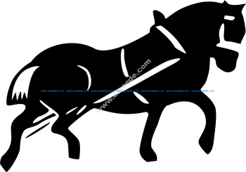 Cart Horse Vector Silhouette