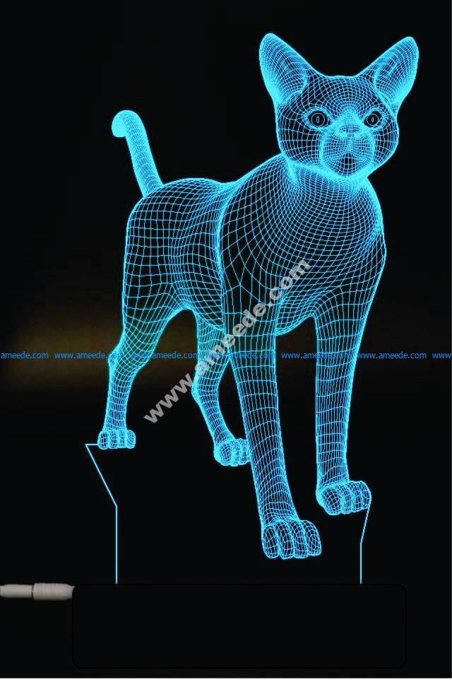 Cat 3D Lamp Vector Model
