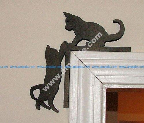 Cute Kitten Silhouette Door Topper