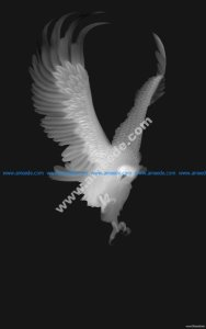 Eagle grayscale Image for CNC 3D Routing BMP File