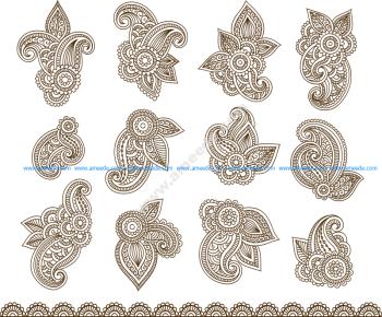 Henna Mehndi Paisley Flowers Vector Tattoo