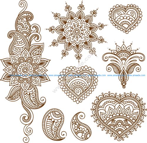 Henna Tattoo Flower Template Mehndi Style