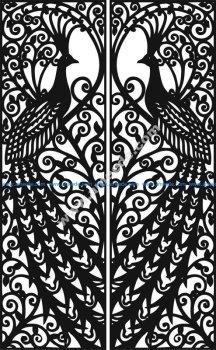 Laser Cut Door Design Peacock