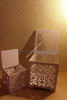Laser Cut Wood Box with Flower Motif