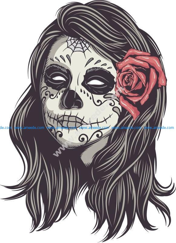 Mexican Skull Woman Vector Art