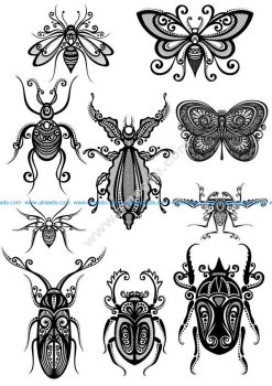 Ornament Insect Art Vector Pack