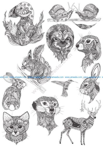 Ornamental animals in boho style vectors