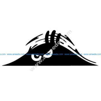 Peeking Monster Scary Eyes Car Decal Sticker