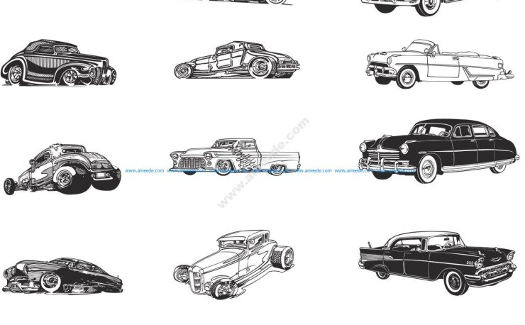 Retro Cars Vector Art