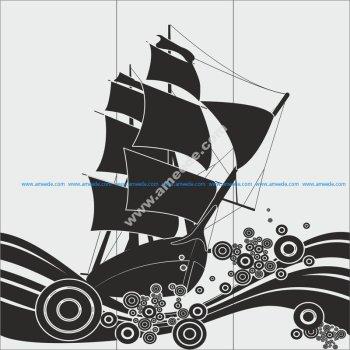 Ship Glass Etching Sandblasting Patte