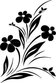 Simple Flower Designs Black And White Vector Art jpg