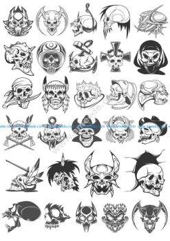 Skull Horror Vector Set
