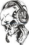 Skull with Headphones Sticker Vector