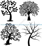 Spiral Tree Silhouette Vectors