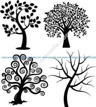 Spiral Tree Silhouette Vectors