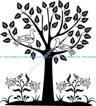 Tree with Birds Vector Illustration