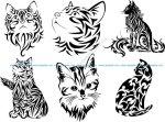 Tribal Cat Tattoo Vector Art
