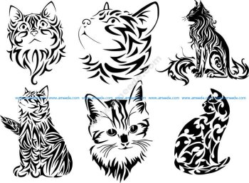 Tribal Cat Tattoo Vector Art