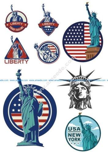 Usa Liberty Statue Logo Vector