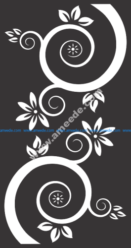 Vector Flowers And Swirls Black
