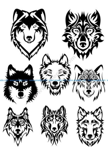 Wolf Face Silhouette Vector Art